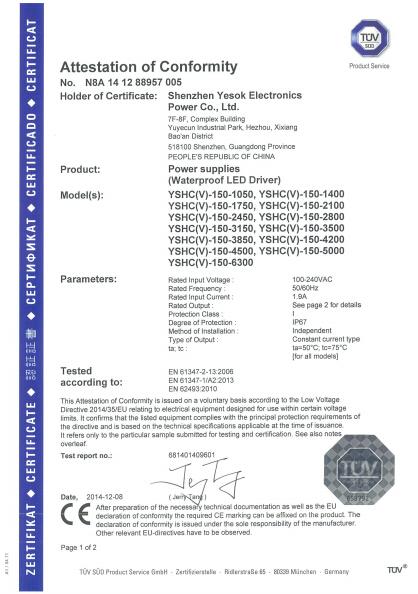 Pfc0.95/IP67 EMC LVD 150W 3500ma LED driver high efficiency 90%